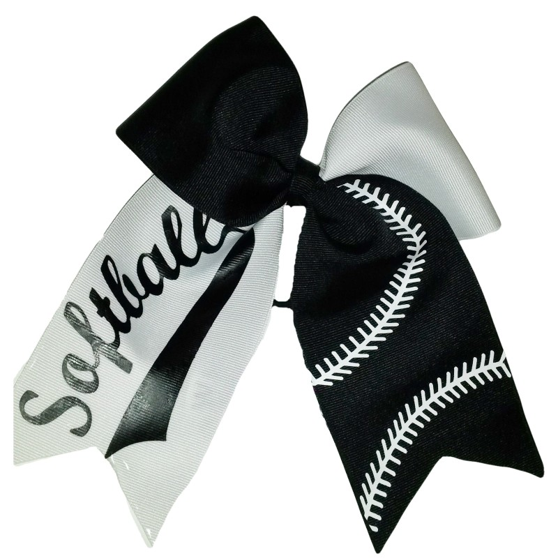 Black and white softball hair bow 9a1f6277b1a